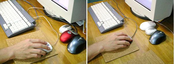 マウスパッドで作業領域試験