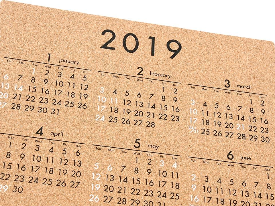 コルクカレンダー(2019年版)